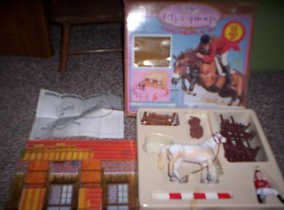 The Champions Equestrian Play Set (Stable Horse Rider Fence Jumps) 1984 Sungold