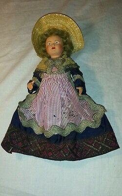 Antique Martha Washington?  hand painted molded plastic doll