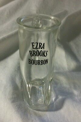 Cowboy Boot Shotglass Ezra Brooks  Clear glass advertising for man cave or cabin