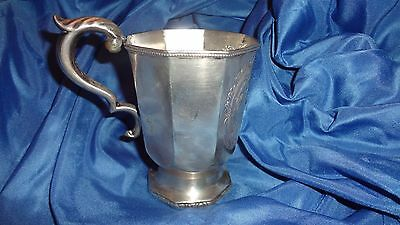 c. 1850s Octagonal Repousse Octagonal Coin Silver Footed Mug Cup