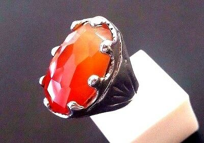 Ring for Male with big Carnelian ring  #1203 St. Silver 925  size 3-14