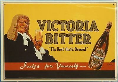 VB Victoria Bitter Judge For Yourself Vintage Tin Sign
