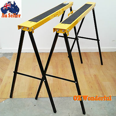 2x Saw Horse Foldable Steel Trestle Stand Anti-Slip Carpentry Work Bench EPP1154