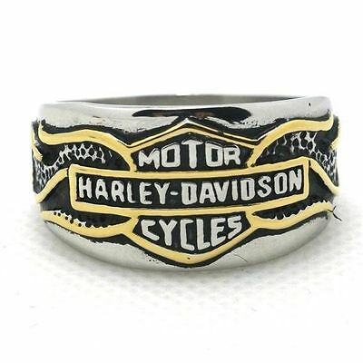 316L Stainless Steel ring gold black silver toned US 8-14 Motorcycle biker