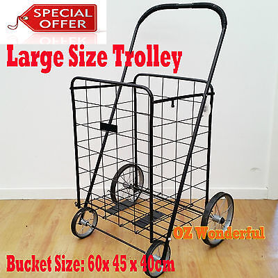 1 x Large 60cm Foldable Portable Cart Collapsible Shopping Trolley