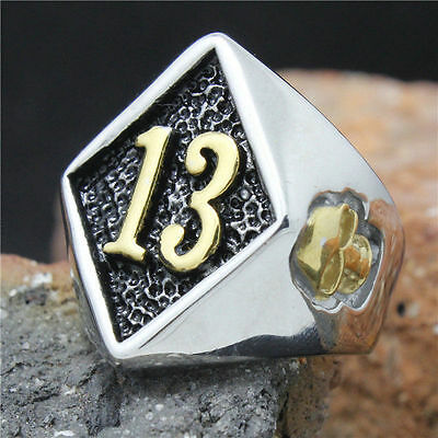 316L Stainless Steel with Gold tone 13 thirteen Biker ring 1%er Sizes US 8-15