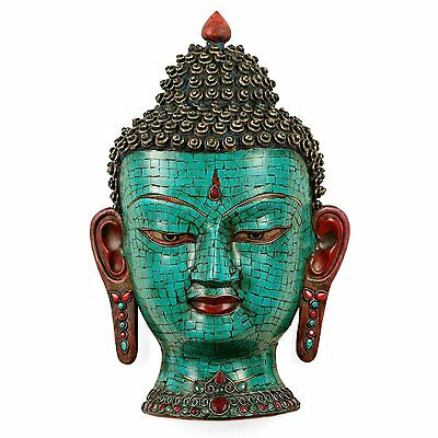 Green face Buddha Wall Hanging Antique Finish Head Mask Sculpture art decor gift