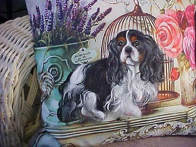 Cavalier King Charles Hand Painted On Still Life  Pillow Fantastic!!