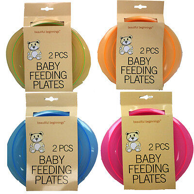 2 Pcs Baby Feeding Plates Plastic Camping Various Colours