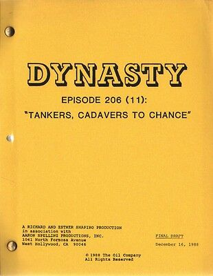 JOAN COLLINS - ORIG DYNASTY SCRIPT 'Tankers, Cadavers To Chance ' 1988 [C#44]