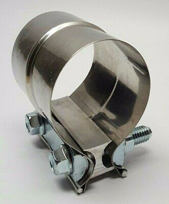 """2"""" Preformed Band Lap Joint Style Stepped Exhaust Muffler Pipe Clamp SS JL20ST"""