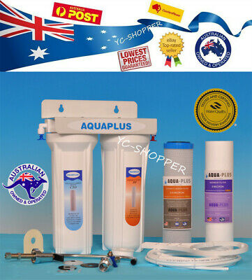 Deluxe Household Twin UnderSink Water Filter System + Cartridges + Fittings