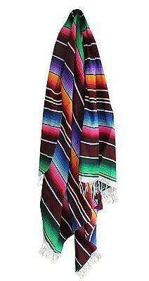 #203Burgundy Sarape Style Falsa Blanket Classic Mexican Serape Throw Hand Woven
