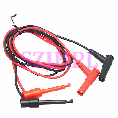 1 set Banana Plug right angle to Multimeters dual Test Hook clip 0.9M lead cable