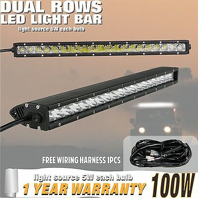 22inch 100W Cree LED Light Bar Single Row Flood Spot 4WD 12V with Wiring Harness