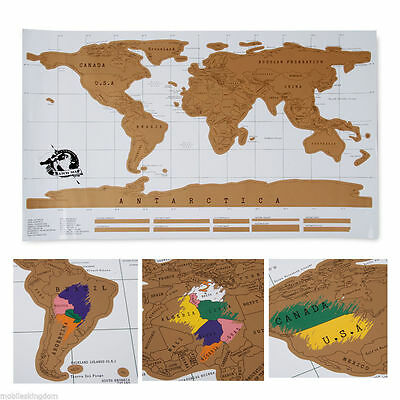Deluxe Travel Edition Scratch Off World Map Poster Personalized Journal Log DI