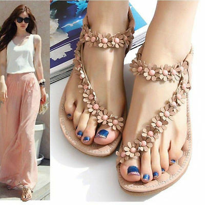 Summer Women Bohemia Floral Flat Shoes Beach Sandal Thong Slippers Flip Flop DI