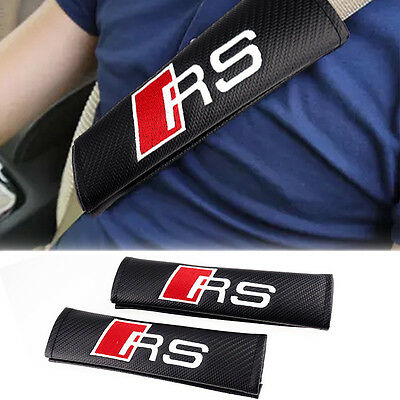 2 x  Brand New RS Carbon Fiber Seatbelt Pads,Saftey Seat Belt Pad Cover For Ford