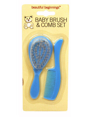 Beautiful Beginnings Baby Hair Brush and Comb Set Blue