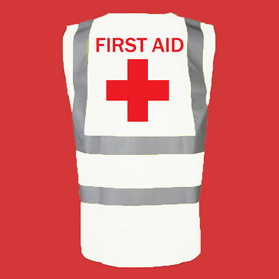 Hi Vis Viz vest PRINTED 'FIRST AID' ,TRUE WHITE, ALL SIZES