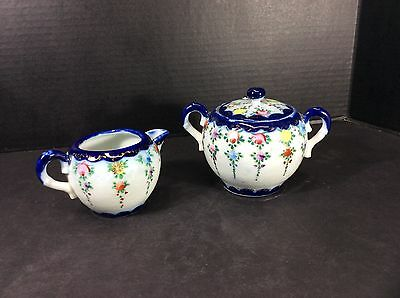 Beautiful Antique Hand Decorated Creamer And Sugar