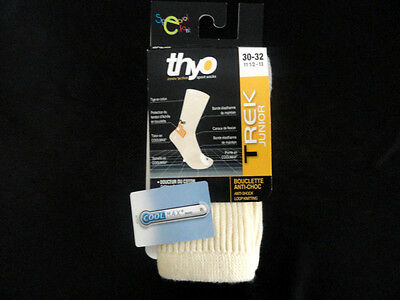 Mi-Chaussettes THYO Trek Junior Cool Max Naturel Beige et Orange T30/32