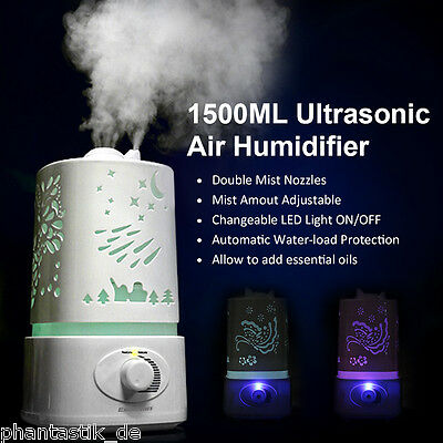 1.5L Ultrasonic Air Humidifier Aroma Diffuser Purifier 7 LED Color Nebulizer UK
