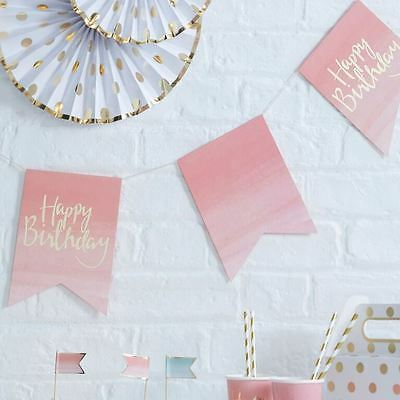 Gold Foiled & Ombre Happy Birthday Paper Bunting x 3m Party Decoration