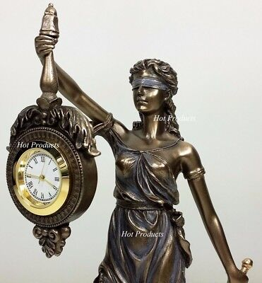 BLIND LADY JUSTICE Desk / Table CLOCK Lawyer Attorney Gift Statue La Justica