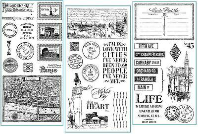 Graphic 45 CITYSCAPES 36-pc Cling Stamp 1-2-3 Scrapbook Mixed Media