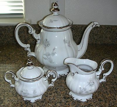 Hutschenreuther Sylvia Gray Rose Large Teapot Coffee Pot With Lid Platinum Trim