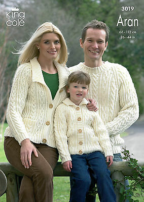 KING COLE 3019 ARAN KNITTING PATTERN SIZE 26-44  NOT the  FINISHED GARMENTS