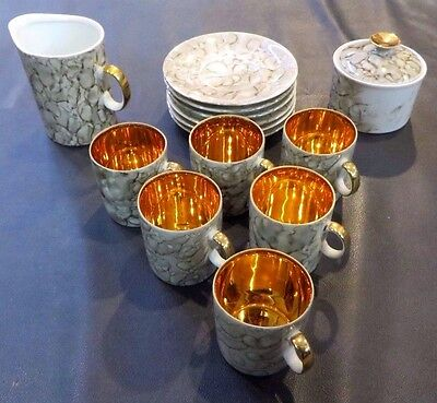 Vintage Tea/Coffee/Cappucino Demitasse 6 Set Rare Gold Awesome Made In Europe