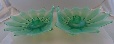 1 Pair Opalescent Fostoria Heirloom Candle Holders – Green – 1950's Mid Century