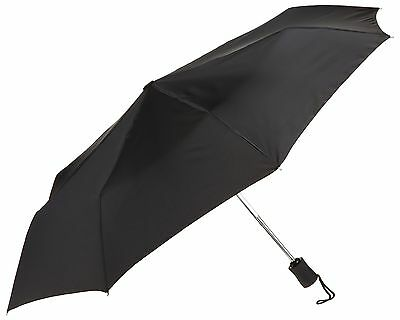 Lewis N Clark 413-Black-One Size Automatic Travel Umbrella Black , Silver