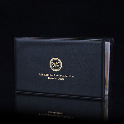 Kuwait Banknotes Complete Set 1/4 To 20 Dinars 24k Gold Plated /w Leather Album