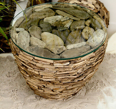 Driftwood Tidal Round Occasional Table Indoor/outdoor Unique Handmade Glass Top
