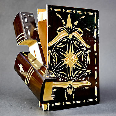 Wooden Puzzle Box Secret Compartment Black Ethnic Carved Handmade Jewelry Book