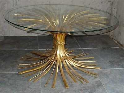 Mid-Century Hollywood Regency Gold Tole Sheaves Of Wheat Glass Top[NOT INC]Table