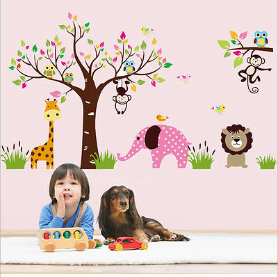 Forest Animal Cartoon Removable Wall Stickers For Kids Rooms Decor YXH2