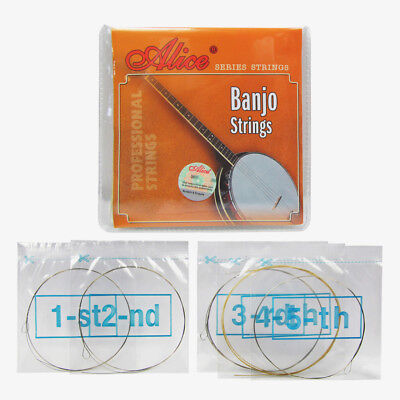 Alice 1 Set of 5-String Banjo Strings Stainless Steel Core & Coated Copper