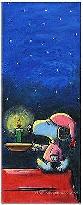 KLAUSEWITZ: ORIGINAL ACRYL  GEMÄLDE AUF LEINWAND: GOOD NIGHT, SNOOPY! / 20x50 cm