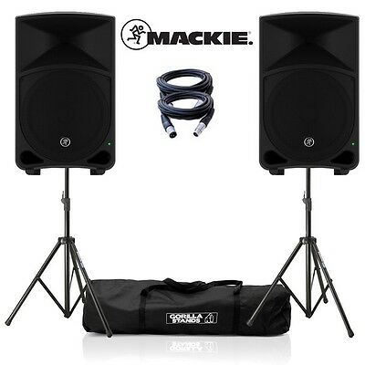 Mackie Thump 12 v3 PA DJ Speakers (Pair) with GSS-Kit and Cables Package