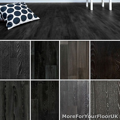Black Wood Plank Vinyl Flooring Non Slip Vinyl Flooring Lino Kitchen Bathroom
