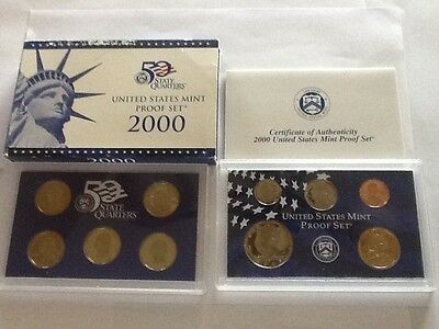 2000 US Mint 10 Coin S Proof Set with Box and COA
