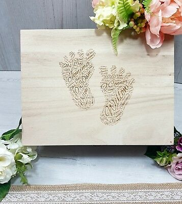 Baby Keepsake Box Personalised Engraved Baby Wooden Birth Memory Box Footprint