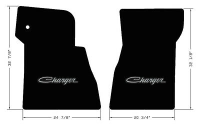 NEW! BLACK FLOOR MATS 1968-1970 Dodge Charger Script Embroidered Logo in Silver