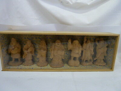 Vintage Oriental Hand Carving Wood Figurines Set Of 7 With Wood Display Box