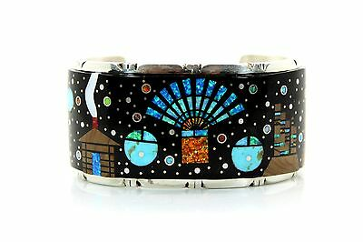 Navajo Inlay Multi Color Stone Sterling Silver Cuff Bracelet By Wilson Owens
