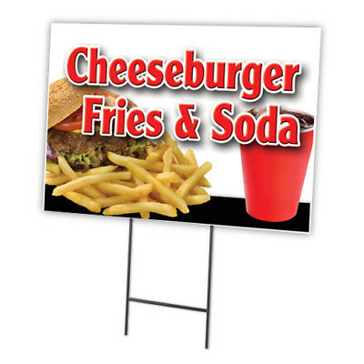 """HOT DOGS FRIES /& SODA 18/""""x24/"""" Yard Sign /& Stake dog outdoor plastic coroplast"""